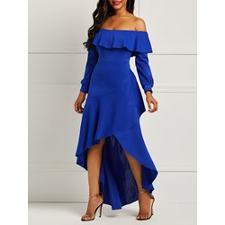 Shoespie Falbala Backless Strapless Women's Maxi Dress