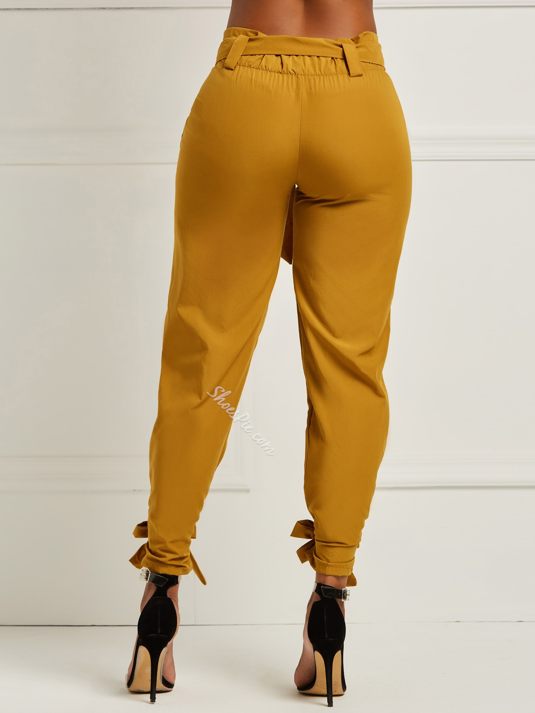 Brown Bowknot Slim Full Length Women's Casual Pants