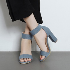 Casual Line-Style Buckle Open Toe High Heels