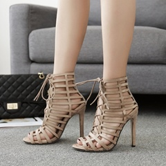 Hollow Peep Toe Lace-Up Hig Upper Stiletto Heels