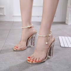 Nude Jelly Beads Ankle Strap Sexy Sandals