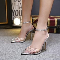 Jelly Rivet Closed Toe Ankle Strap Stiletto Heels