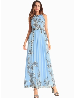 Shoespie Lace-Up Floral Women's Maxi Dress