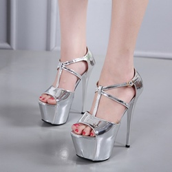 Platform T-Shaped Buckle Peep Toe Stiletto Heels