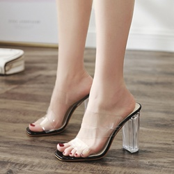 Black Jelly Slip-On Casual High Heel Sexy Mules