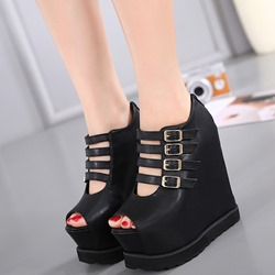 Black Zipper Peep Toe Buckle Wedge Heels