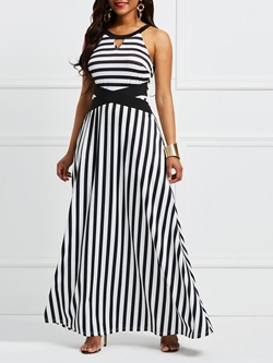 Shoespie Color Block Hollow Patchwork Women's Maxi Dress