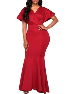 Shoespie Batwing Sleeve V Neck Plain Women's Maxi Dress