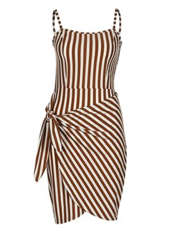 Shoespie Lace-Up Western Stripe Women's Bodycon Dress