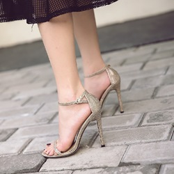 Open Toe Line-Style Buckle Stiletto Heels