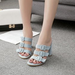 Shoespie Slip-On Buckle Cute Mules Heels