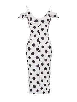 Shoespie Pullover V Neck Polka Dots Women's Bodycon Dress