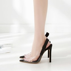 Black Bowknot Slingback Strap Slip-On Stiletto Heels