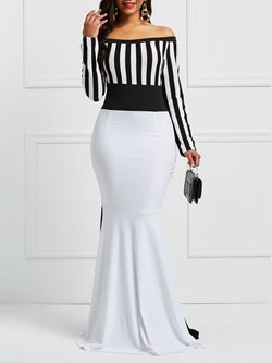Shoespie Slash Neck Backless Stripe Women's Maxi Dress