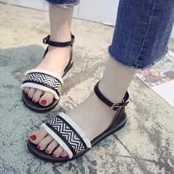 Black And White Woven Ankle Strap Sandals