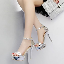 Appliques Line-Style Buckle Stiletto Heels