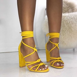 Sexy Open Toe Suede Lace-Up Chunky Heels