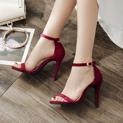Suede Line-Style Buckle Open Toe Stiletto Heels