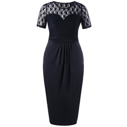 Shoespie Pleated Hollow Patchwork Women's Bodycon Dress