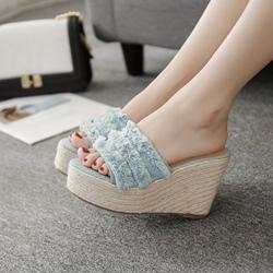 Blue Fringe Slip-On Casual Wedge Sandals