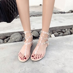 Shoespie Rivet Jelly Strappy Flat Sandals