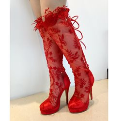 Magnificent Red Mesh Flower Print High Heel Knee High Boots