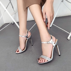 Rhinestone Ankle Strap Open Toe Stiletto Heels