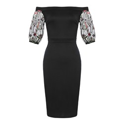 Shoespie Slash Neck Mesh Embroidery Women's Bodycon Dress