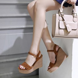 Buckle Ankle Strap Platform Wedge Sandals