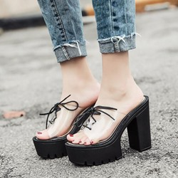 Jelly Cross Strap Slip-On Black Mules