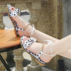 Cute Bow Black And White Ankle Strap Flat Sandals