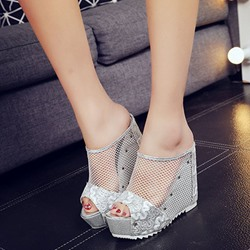 Sexy Hollow Slip-On Wedge Sandals