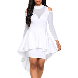 Shoespie Off-white Stand Collar Women's Bodycon Dress
