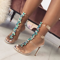 Jelly Rhinestone Strappy High Upper Stiletto Heels