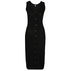 Shoespie Lace-Up Button V Neck Women's Bodycon Dress