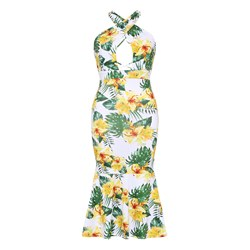 Shoespie Polyester Floral Halter Women's Bodycon Dress