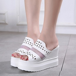 Hollow Slip-On Casual Women's Wedge Sandals
