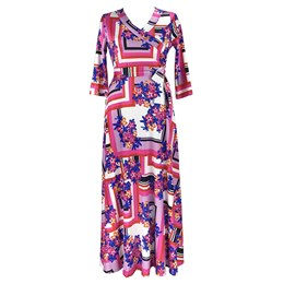 Shoespie Geometric Floral Women's Maxi Dress