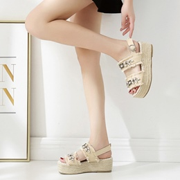 Rhinestone Fringe Buckle Wedge Sandals