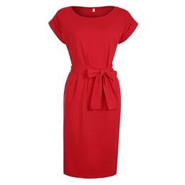 Shoespie Belt Bowknot Plain Bodycon Dress