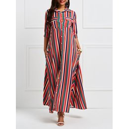 Shoespie Polo Neck Chiffon Pocket Women's Maxi Dress