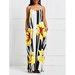 Shoespie Backless Print Pocket Women's Maxi Dress