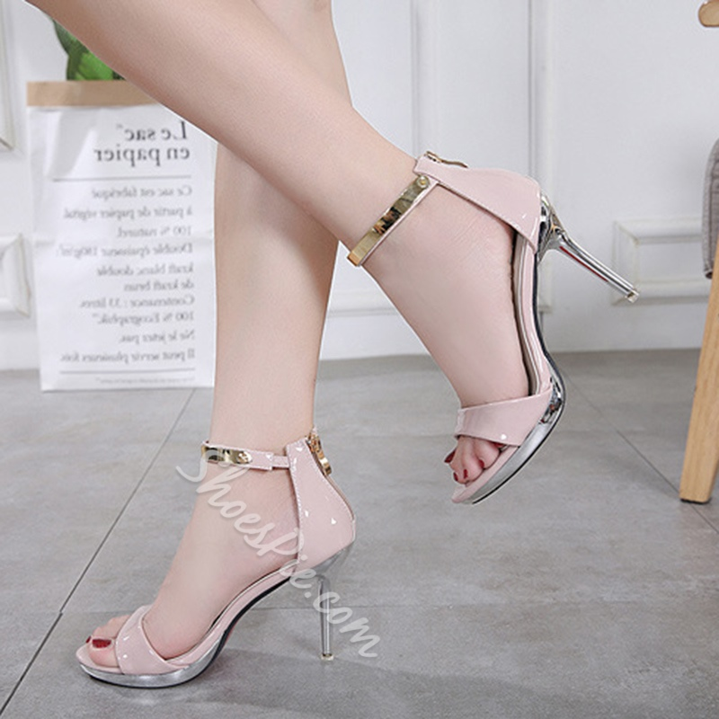 Sequin Zipper Open Toe Stiletto Heels