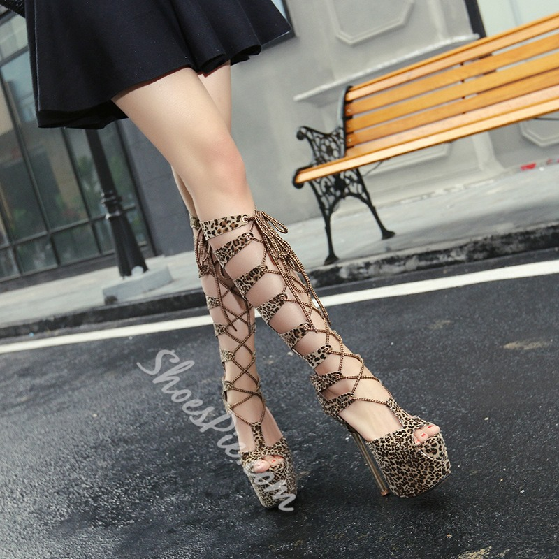 Leopard Brown Cross Strap Zipper Sexy Stiletto Heels