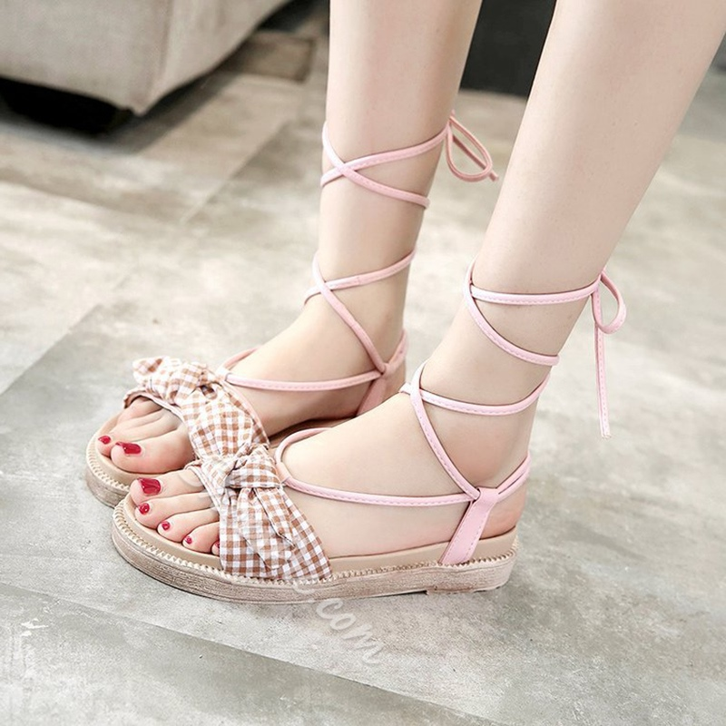 Bow Ankle Lace Sandals Strap Up Cute bf6vY7gy