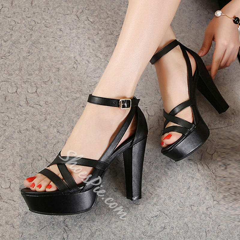 Platform Line-Style Buckle Open Toe High Heels