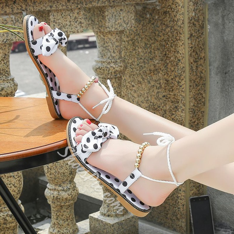 17df0ca0d1a Cute Bow Black And White Ankle Strap Flat Sandals- Shoespie.com