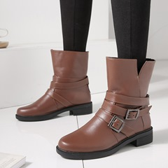 Shoespie Buckle Slip-On PU Ankle Boots