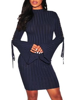 Shoespie Lace-Up Fall Sexy Women's Bodycon Dress