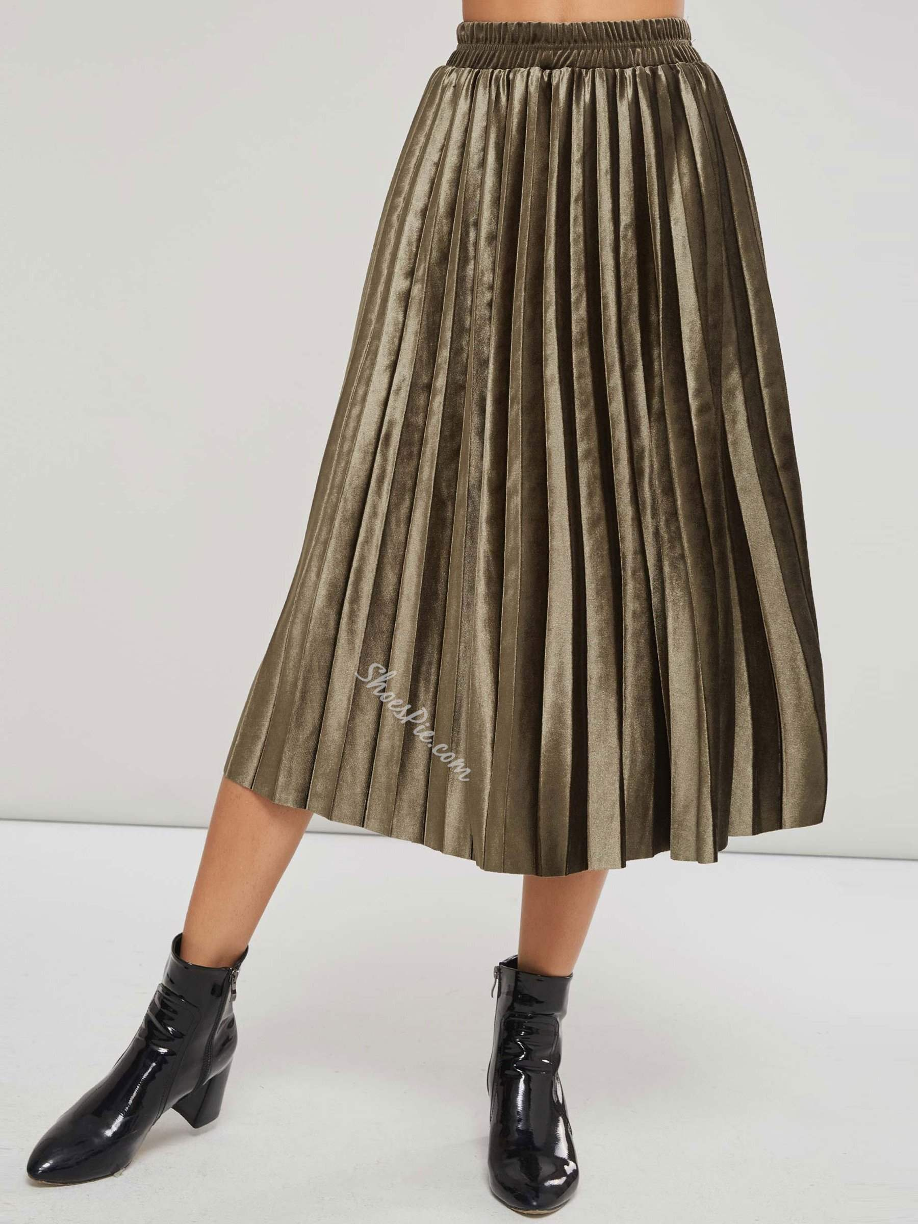Plain Mid-Calf Pleated Western Women's Skirt